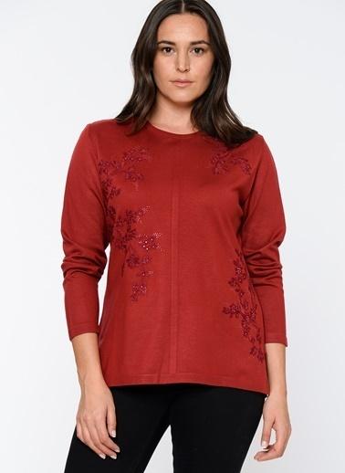 Butik Triko İşlemeli Uzun Kollu Bluz Kırmızı